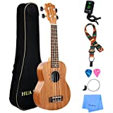 Professional Soprano Ukulele Kit Mahogany HUAWIND Uke Starter Kit Hawaiian Ukulele Beginner Kit for Players Kids Adults Beginners Students Children (Soprano)