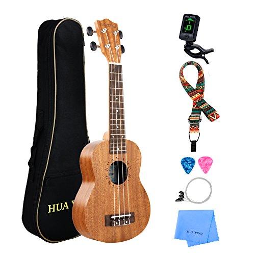 Professional Soprano Ukulele Kit Mahogany HUAWIND Uke Starter Kit Hawaiian Ukulele Beginner Kit for Players Kids Adults Beginners Students Children (Soprano Ukulele)
