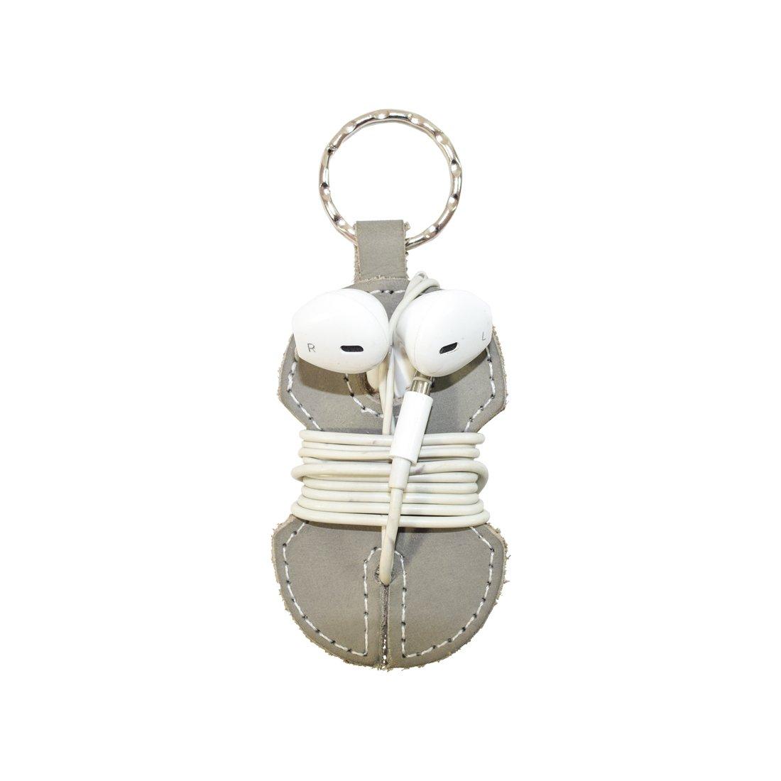 Leather Key Chain & Headphone Wrap Handmade by Hide & Drink :: Stone Gray