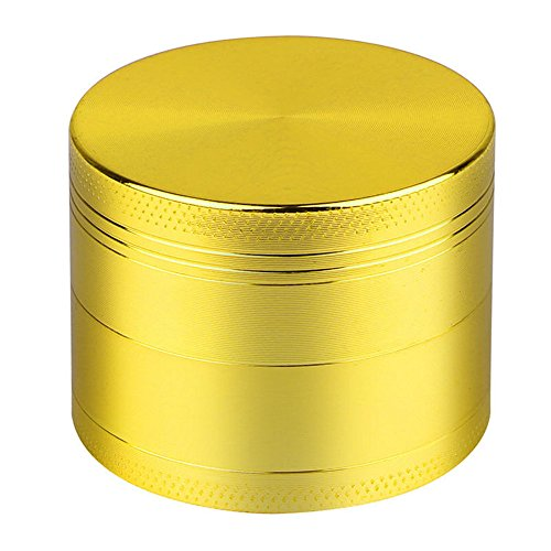 KXN New Gold 4 Pieces Spice Herb Grinder,Weed Grinder, Tobacco Spice Crusher Accessories, Aluminum Alloy Material Made, Razor-sharp Teeth