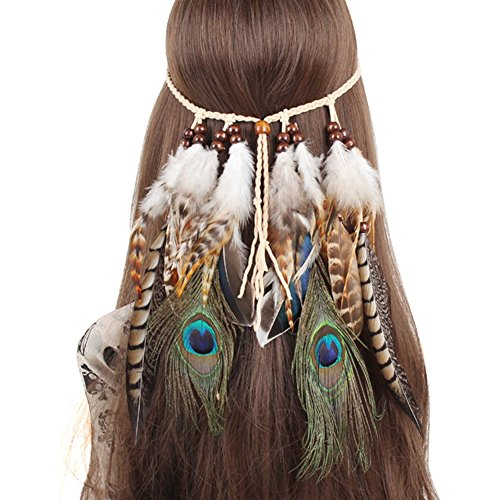 QtGirl Indian Feather Headband Tassel Hemp Rope Bohemian Hairband for Women Girls Festival Headdress - Indian Princess Head