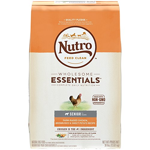 NUTRO WHOLESOME ESSENTIALS Senior Farm-Raised Chicken, Brown Rice & Sweet Potato Recipe Dry Dog Food Plus Vitamins, Minerals & Other Nutrients, (1)30 lbs., Delicious Chicken Flavor; Rich in Nutrients and Full of Flavor