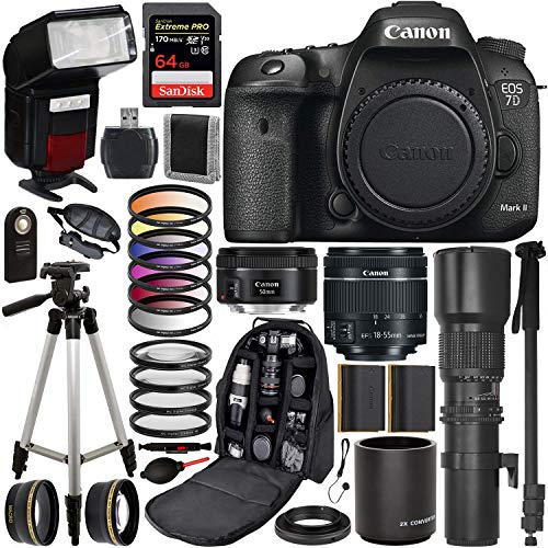 Canon EOS 7D Mark II DSLR Camera with 50mm, 18-55mm, and 500mm Lenses with 2X Teleconverter, T-Mount Adapter & Essential Accessory Bundle - Includes: SanDisk Extreme PRO 64GB Memory Card + More