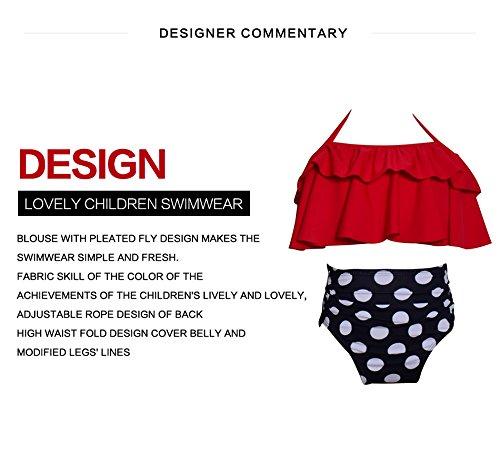 8a71e7149c2 Qunlei Mommy and Me Swimsuits Two Pieces Retro Boho Flounce Falbala High  Waisted Beach Bikini Set