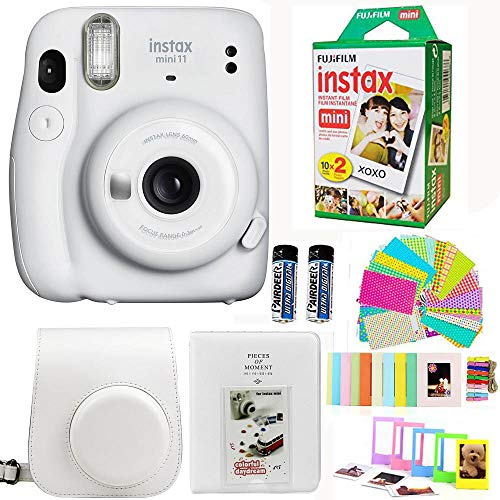 Fujifilm Instax Mini 11 Ice White Camera with Fuji Instant Film Twin Pack (20 Pictures) + White Case + Strep, Album, Stickers, and More Accessories Bundle