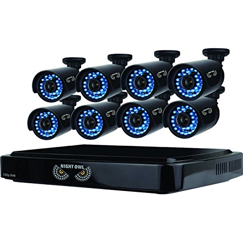 Night Owl 8-Channel, 8-Camera Indoor/Outdoor DVR Security System Black B-A720-81-8