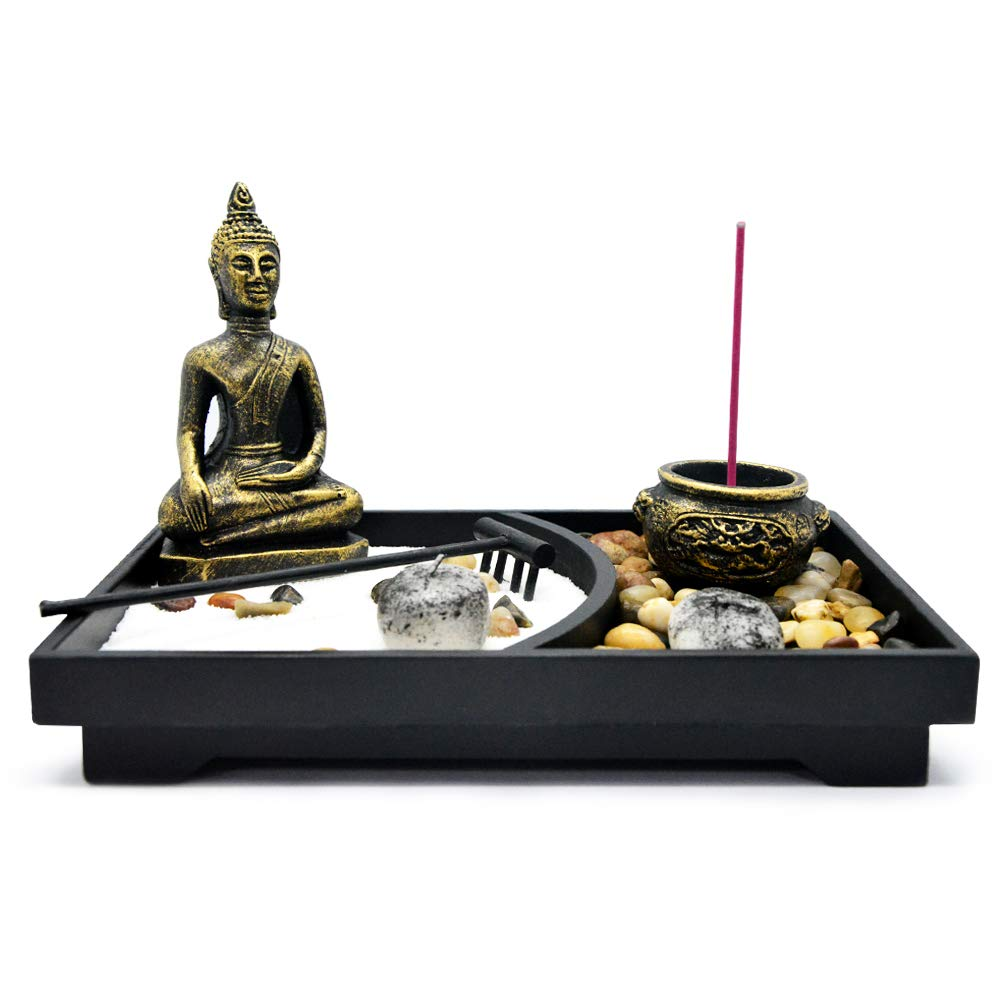 Homelex Zen Rock Garden Buddha Sculpture Rake Sand Candle Incense Burner Tray Gift (SCZ-06)