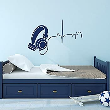 Music Wall Decal DJ Headphone Audio Music Pulse Removable Vinyl Wall Decals  Nursery Kids Boys Teens Part 64