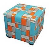 Sole Designs Merton-Hopscotch Abstract Square Merton Collection Blue/Orange 4 Button Tufted Ottoman For Sale