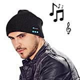 MOCREO Fashion Bluetooth Knit Hat with Stereo Headphones and Microphone Warm Chunky Soft Beanie Hands Free Talking for iPhone Samsung Android And iPad Men and Women Christmas Gift(Black)