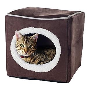 PETMAKER Cozy Cave Enclosed Cube Pet Bed – Dark Coffee