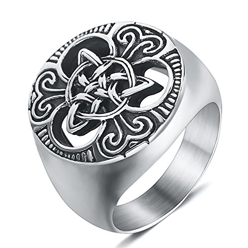 enhong Mens Celtic Knot Signet Rings Round Vintage Stainless Steel Ring for Biker Size -