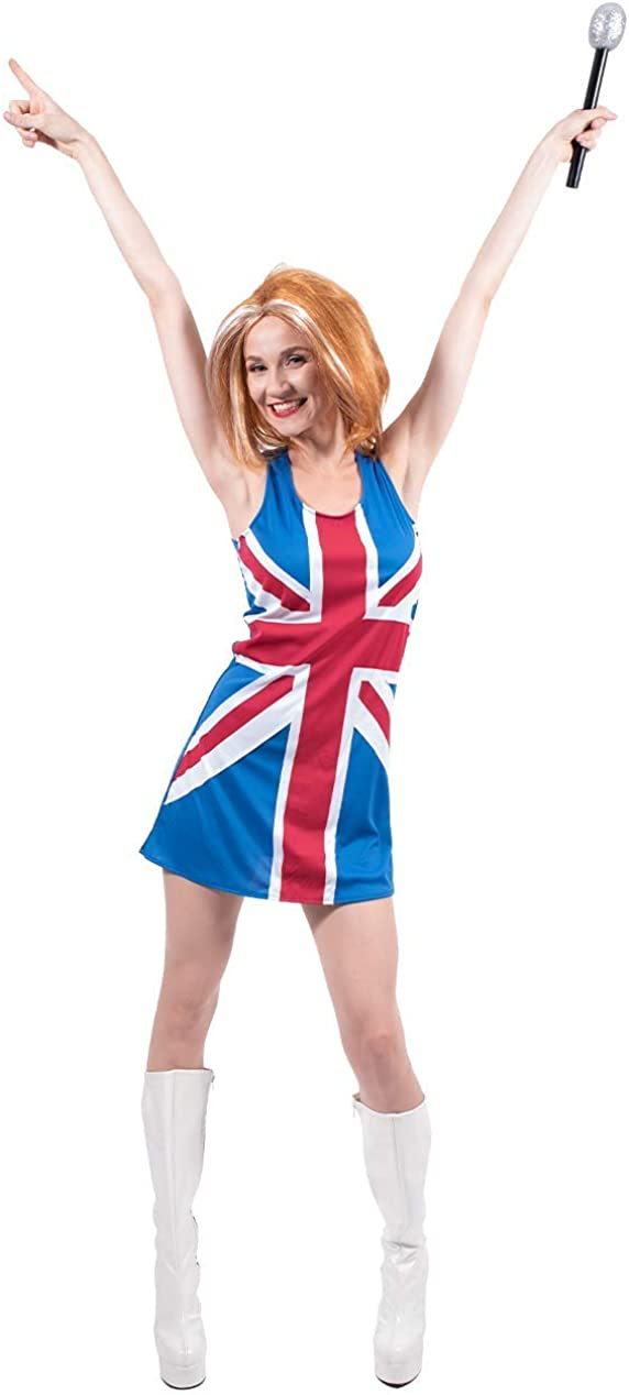 Ginger Spice Girl Costume PARRUCCA Donna Union Jack Costume 90s Outfit Britannico