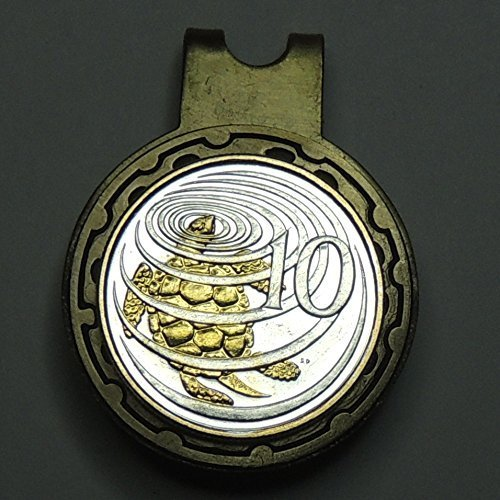 (Cayman Is. Turtle, 2-Toned (Uniquely Hand done) Gold on Silver coin - Golf Ball Marker - Hat clips magnetic for men - women - boys - accessories)