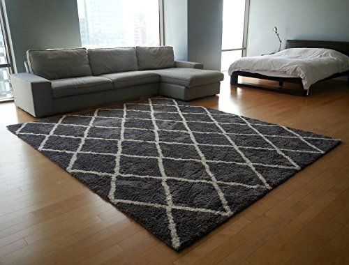 Gertmenian 78168 Air Shag Rug Microfiber Shaggy Carpet 9x12 X Large Diamond Gray