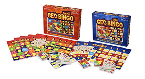 Geotoys GeoBingo World and GeoBingo USA 2 Game Set - Educational and Fun Geography Bingo Game and Map Game - Board Game to Explore The World!