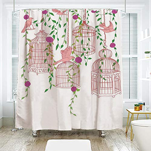 scocici Bath Curtain Suit Bathroom Waterproof Curtain Bath Curtain,Flying Birds Decor,Rose Garden with Flying Birds and Ornate Cages Flower Leaf Home Love Design,Pink Green Purple,78.7
