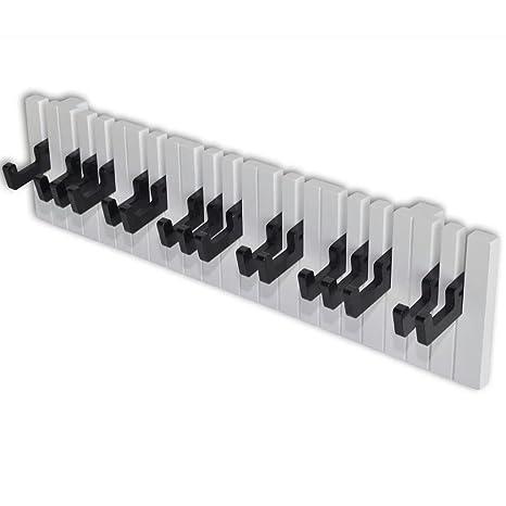 vidaXL 16 Ganchos Perchero de Pared Barra de Armario Forma de Teclado de Piano Negro