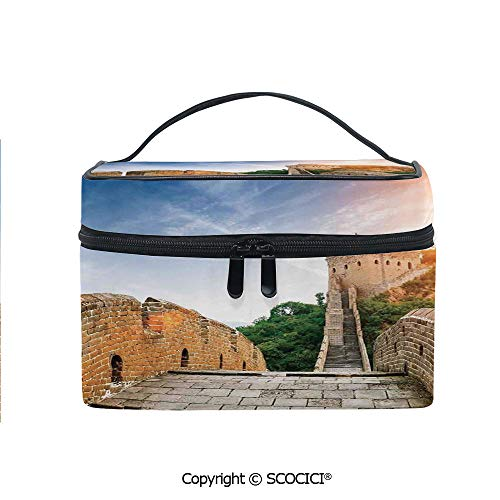 Printed Durable Portable Travel Cosmetic Bags Dynasty Monument on Cliffs Historical Countryside Art Design with Mesh Pocket Women Make Up ()