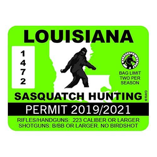 "RDW Louisiana Sasquatch Hunting Permit - Color Sticker - Decal - Die Cut - Size: 4.00"" x 3.00"""