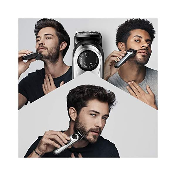 Braun Beard Trimmer for Men BT5260, Cordless & Rechargeable Hair Clipper, Detail Trimmer with Gillette ProGlide Razor… 2021 August Trim: Precision dial for 39 length settings precision dial 0.5 mm step sizes for an effortless trimming experience, 2 combs, short: 1-10mm, Long: 11-21mm Edge: contour edging with precision, Create accurate lines and edges on neck and cheek with the main beard trimmer head Finish: Gillette Fusion5 Pro-Glide with FlexBall technology for a close shave
