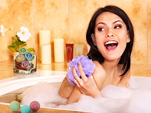 Bath Bombs Gift Set - Handmade Spa Fizzies for Relaxation & Aromatherapy - With Organic, Natural Essential Oils and Shea Butter - Vegan & Cruelty-Free (Set of 6)- By Elijah & Oz by Elijah & Oz (Image #4)