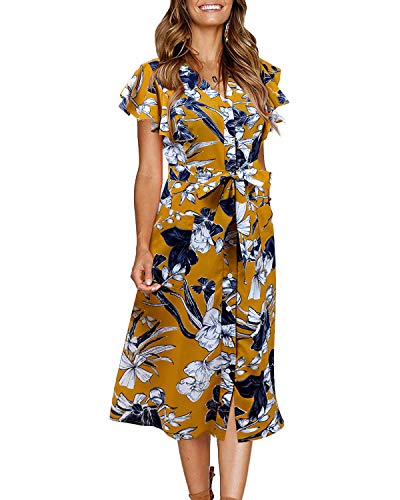 (GIKING Button Down Midi Dress,Cap Sleeve Belted Elegant Summer Beach Dresses Yellow S)