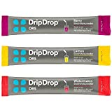 DripDrop ORS Electrolyte Hydration Powder Sticks, Lemon/Berry/Watermelon Variety Pack, Individual 10g Sticks, 24 Count