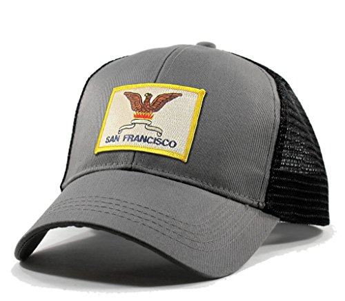 Homeland Tees Men's San Francisco Flag Patch Trucker Hat - Grey