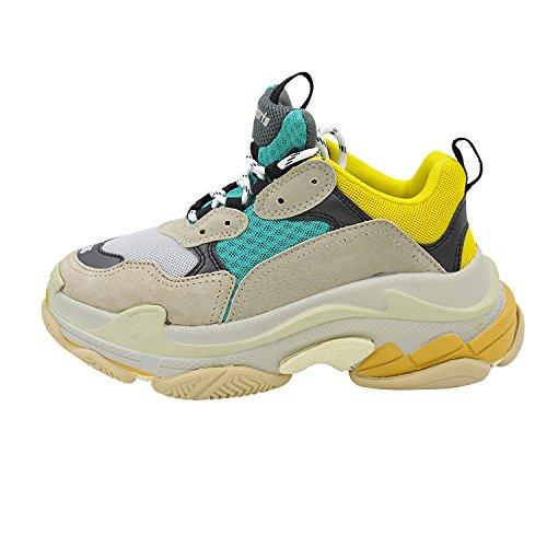 Pour Printemps Chaussures Ronde Mode 39 Et Verte Vertus De Occasionnelles Rue Confortables Femmes Anciennes paisses Tte Jaune dcIyqPSI