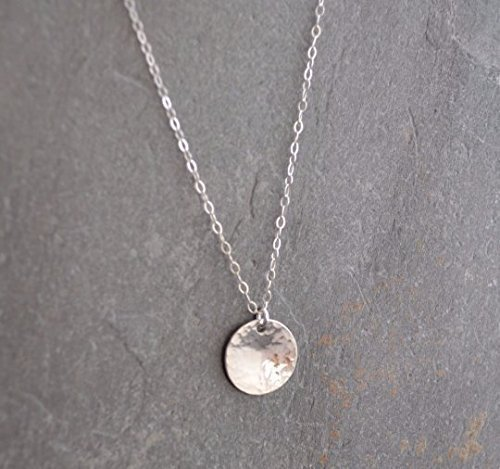Disc Necklace - Hammered Sterling Silver, 20-inch chain (Sterling Silver Disc Pendant)