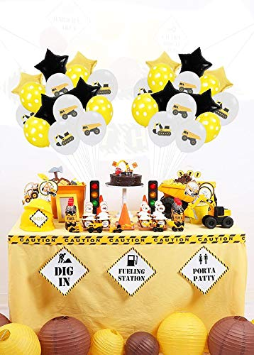 18 Inch Foil Balloon for Kids Baby Shower Construction Party Decoration Construction Vehicle Theme Birthday Balloon,15pcs Excavator Latex Balloons with Ribbon