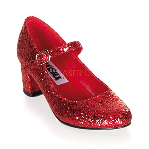 Funtasma by Pleaser Women's Schoolgirl-50 Mary Jane,Red Glitter,9 M US Adult Ruby Red Slippers