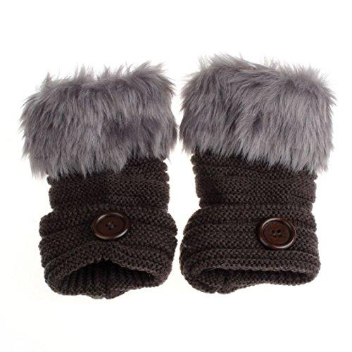 Guantes calientes para Mujeres,Ouneed ® Muñeca guantes sin dedos mitones de piel de conejo falso invierno caliente Gris profundo