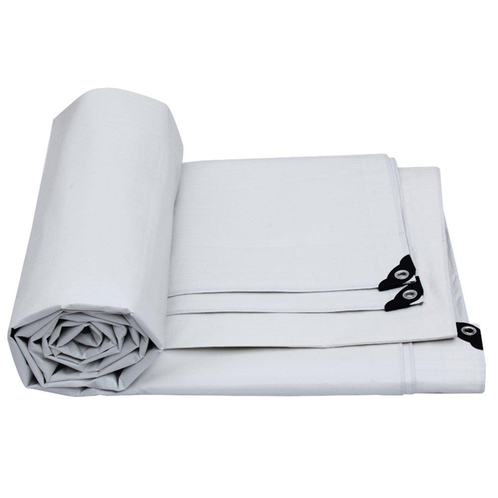 JINSH Regenfestes Tuch wasserdicht Plane Wasserdichte Plane Campingmatte, Cargo-Sonnencreme Isolierung verschleißfesten Anti-Aging (Farbe   Weiß, Größe   8x6M)