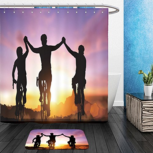 Vanfan Bathroom 2Suits 1 Shower Curtains & 1 Floor Mats silhouette bicycle on sunset and friendship in bicycle sport and triathlon sport 289140455 From Bath - Triathlon Suits Australia