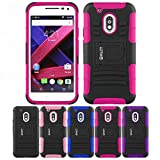 Motorola Moto G4/ G4 Plus Case, HLCT Rugged Shock Proof Dual-Layer PC and Soft Silicone Case With Built-In Kickstand for Motorola Moto G4/ G4 plus (2016) (Rose Pink)