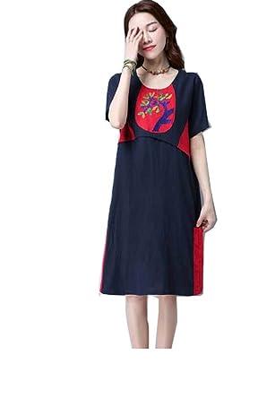 Cystyle A-Linie Damen Kleid Stickerei Leinenkleid Kurzarm Sommerkleid  Knielang Loose Fit mit ein Tasche: Amazon.de: Bekleidung
