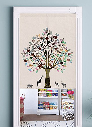 Japanese Noren Doorway Curtain Tapestry with Tree of Life (31.5''x35.4'') by Zegoo (Image #1)