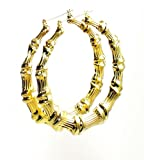 Urban Chic Jewelry Large Bamboo Hoops Goldtone 3.5 inch Free Gift Bag!