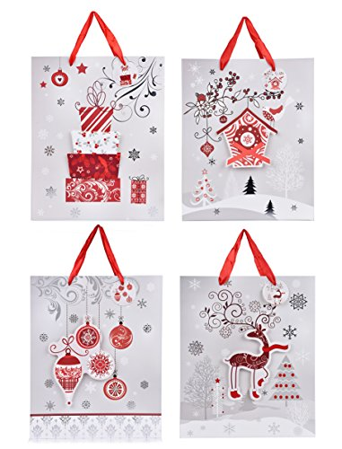 Oxfox Holiday Gift Bag Gift Wrap Set Large for Christmas Birthday Graduation Wedding Present