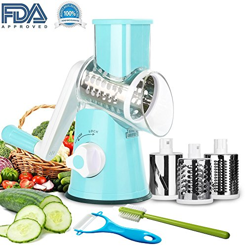 Vegetable Mandoline Slicer by Nasdom, 3 in 1 Round Veggie Chopper Fruit Cutter Cheese Shredder Rotary Drum Grater with 3 Stainless Steel Blades,1 Julienne peeler and 1 Brush,Style A. (Push Down Chopper)