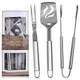 BBQ Grill Tools Set – Stainless Steel Utensils Spatula,Fork,Tongs-Outdoor Grilling Kit Barbecue Accessories (3 Piece) Review