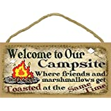 """Welcome to Our Campsite Where Friends & Marshmallows Get Toasted At The Same Time Camping Sign Plaque 5""""X10"""""""