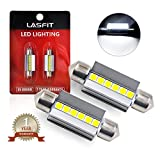 LASFIT 39mm LED Festoon 6418 DE3425 DE3423 Bulb Canbus Error Free 400LM 6000K Extremely Bright Use for Dome Map Door License Plate Trunk Vanity Mirror Lights, Xenon White (Pack of 2)