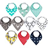 10-Pack Baby Bibs Upsimples Baby Bandana Drool Bibs Unisex for Drooling and Teething, 100% Cotton and Super Absorbent Hypoallergenic Bibs for Baby Boys and Girls, Baby Shower Gift Set
