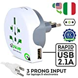 World to Italy Travel Adapter with USB Port by Q2Power | For Type L Outlets | Grounded & Safe | Works with Laptops, Computers, Smartphone Chargers, Portable Devices
