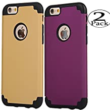 iPhone 6/6s Case,[2 Pack] iBarbe slim fit Rubber PC Shockproof Heavy Duty Protection Case with soft Inner Protection Reinforced Hard Bumper for Apple iPhone 6 6s (4.7 inch) phone-gold+purple