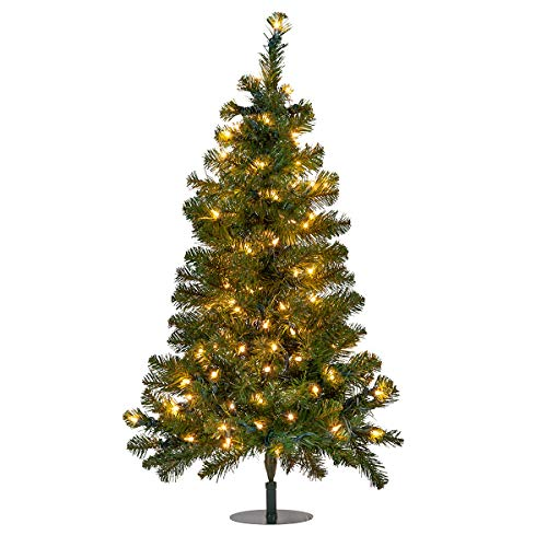 Red Sleigh Pathway Christmas Tree Light, Mini Outdoor Christmas Tree - Pathway Light Christmas Driveway Light Outdoor (One 3 Ft Tree, 100 Clear Incandescent Lights)