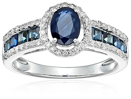 14k White Gold Blue Sapphire and Diamond Halo Engagement Ring (1/4 cttw, I-J Color, Clarity I2-I3), Size 7 (Sapphire 14k Ring Diamond)